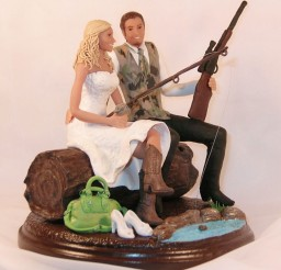 1024x1026px Hunting And Fishing Wedding Cake Toppers Picture in Wedding Cake