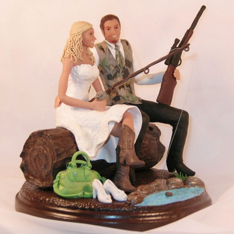 Hunting And Fishing Wedding Cake Toppers Picture in Wedding Cake