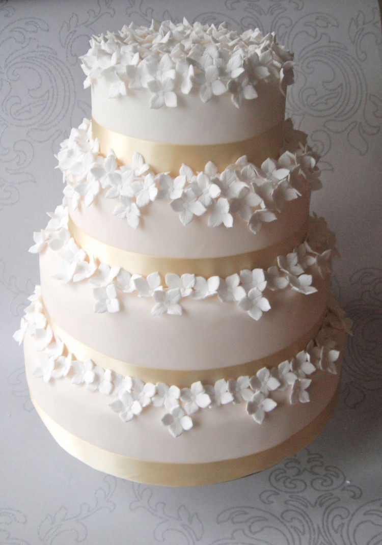 Hydrangea Wedding Cake Picture in Wedding Cake