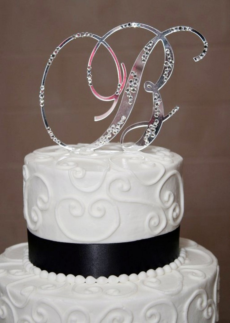 Initial B Wedding Bling Cake Topper Picture in Wedding Cake