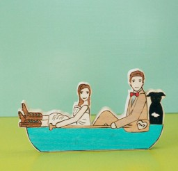 1024x1024px Kayak Wedding Cake Topper In Canoe Picture in Wedding Cake