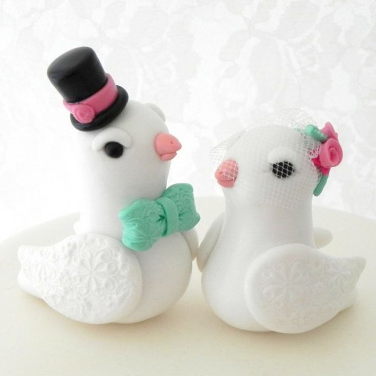 Love Doves Wedding Cake Topper White Picture in Wedding Cake