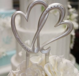 1024x1096px Modern Double Heart Wedding Cake Topper Picture in Wedding Cake