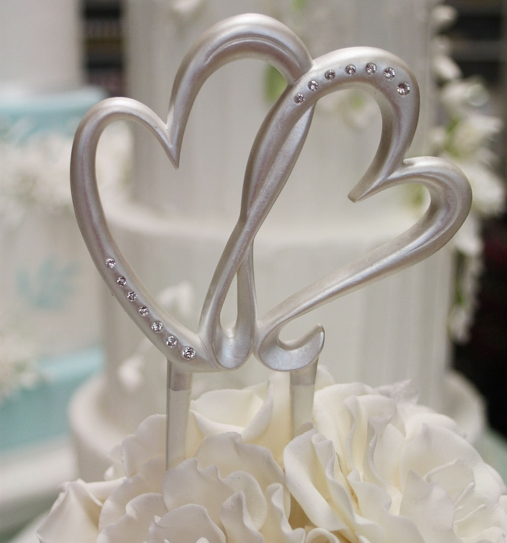 Modern Double Heart Wedding Cake Topper Picture In