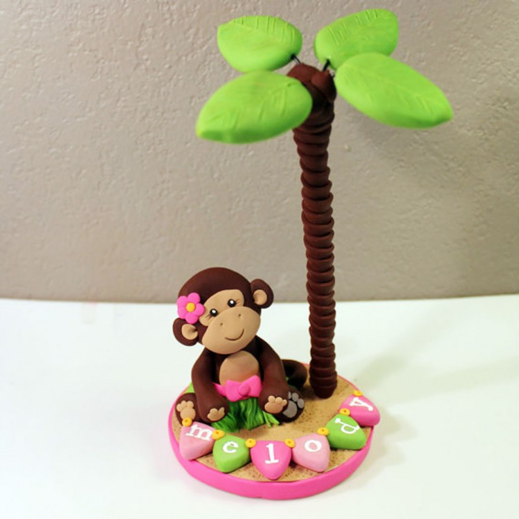 Monkey Themed Birthday Cake Toppers Picture in Birthday Cake