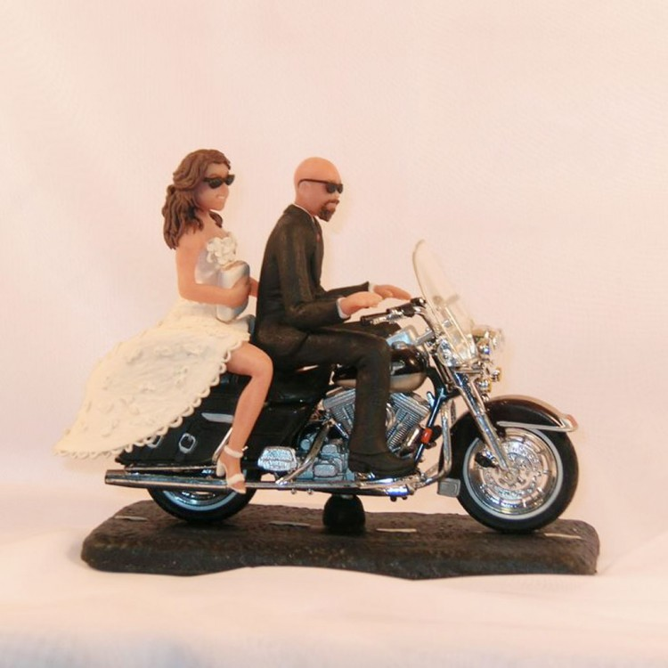 Motorcycle Wedding Cake Topper Bald Groom Picture in Wedding Cake