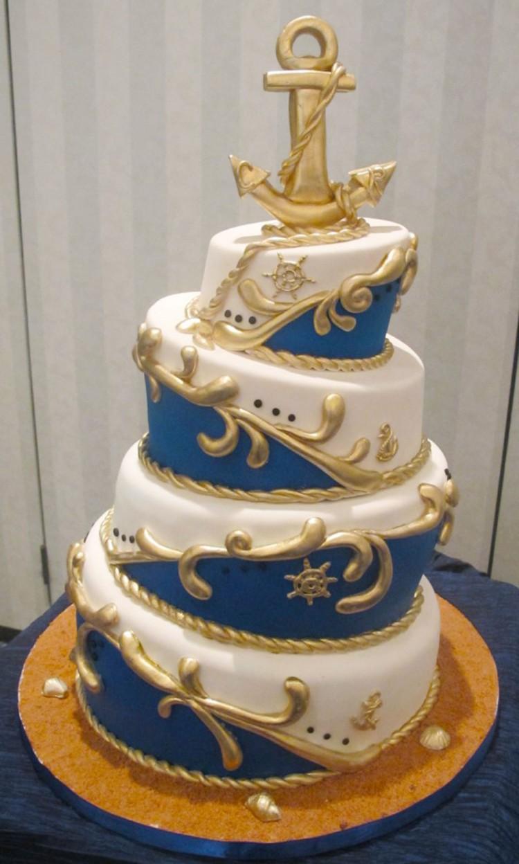 Nautical Topsy Turvy Wedding Cake Picture in Wedding Cake