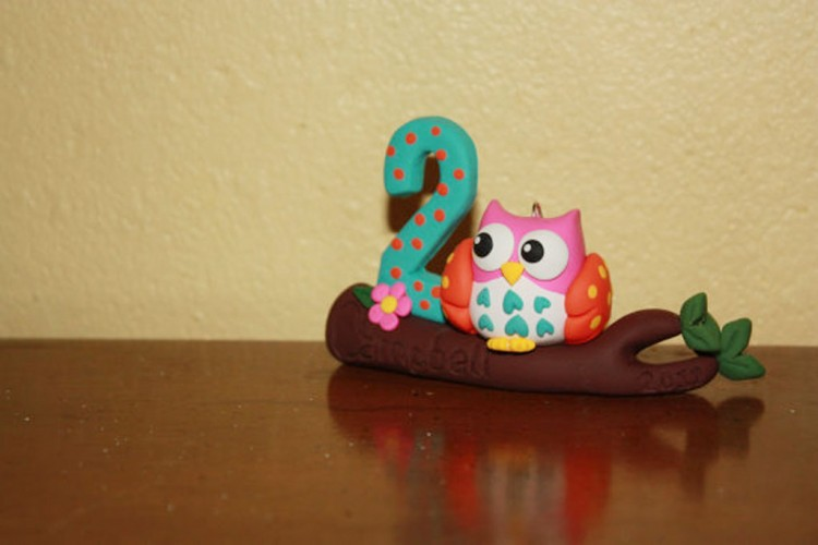 Owl Birthday Ornament Picture in Birthday Cake