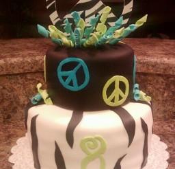 1024x1709px Peace Sign Zebra Stripe Birthday Cake Picture in Birthday Cake
