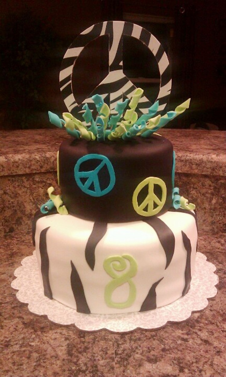 Peace Sign Zebra Stripe Birthday Cake Picture in Birthday Cake