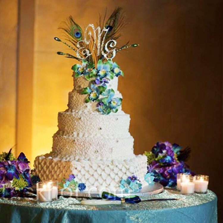 Peacock Feather Wedding Cake Picture in Wedding Cake