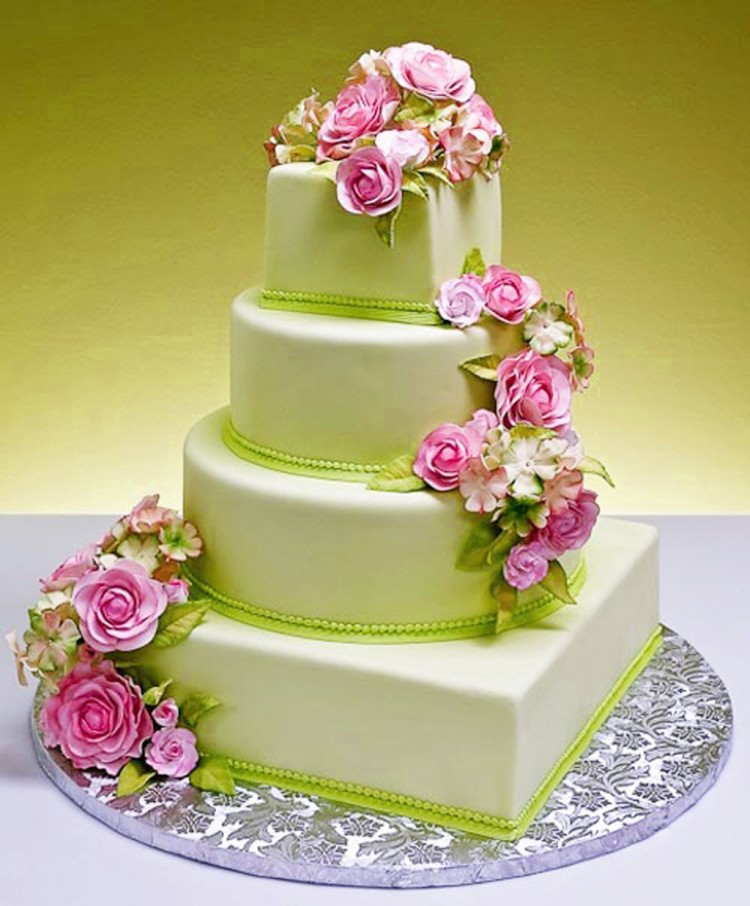 Pink And GreenTheme Wedding Cakes Picture in Wedding Cake