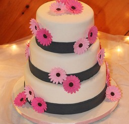 1024x1535px Pink Gerber Daisy Wedding Cake Picture in Wedding Cake