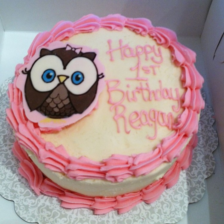 Pink Owl Birthday Cake Picture in Birthday Cake
