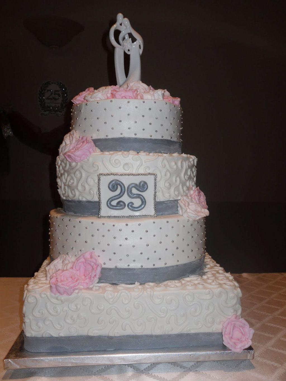 Pink Silver 25th Wedding Anniversary Cake Wedding Cake Cake Ideas By Prayfa