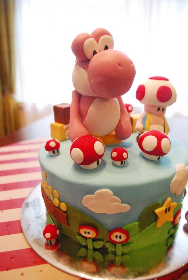 Pink Yoshi Birthday Cake Picture in Birthday Cake