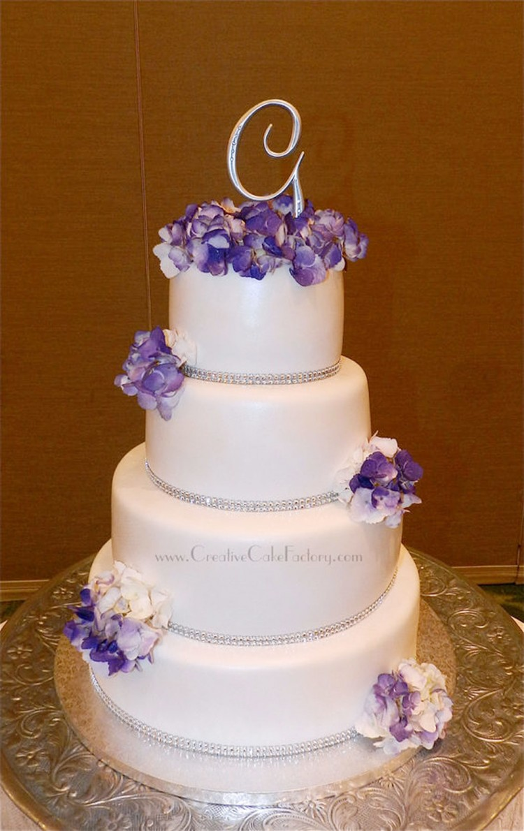 Purple Hydrangea Wedding Cake Picture in Wedding Cake