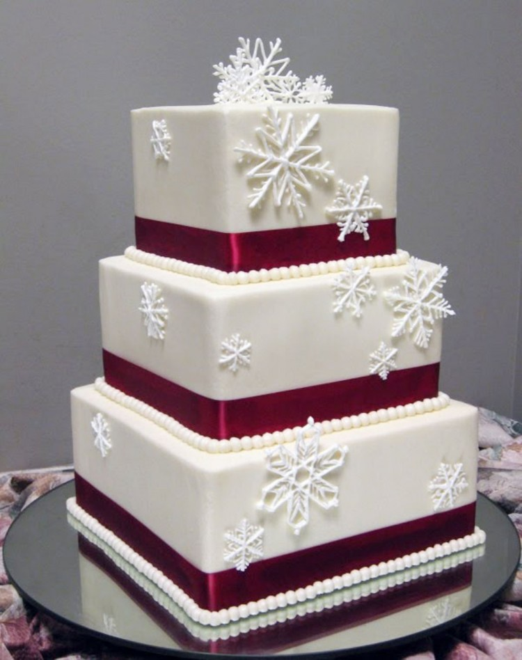 Red Winter Wedding Cakes Winter Picture in Wedding Cake