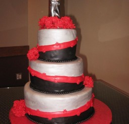 1024x1365px Red Black Silver Wedding Cake Picture in Wedding Cake