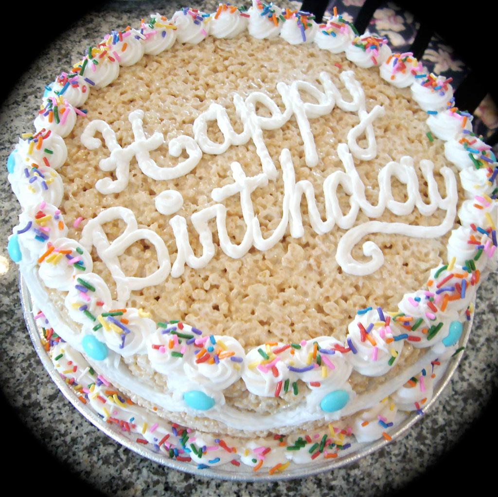 Chocolate Rice Krispie Birthday Cakes
