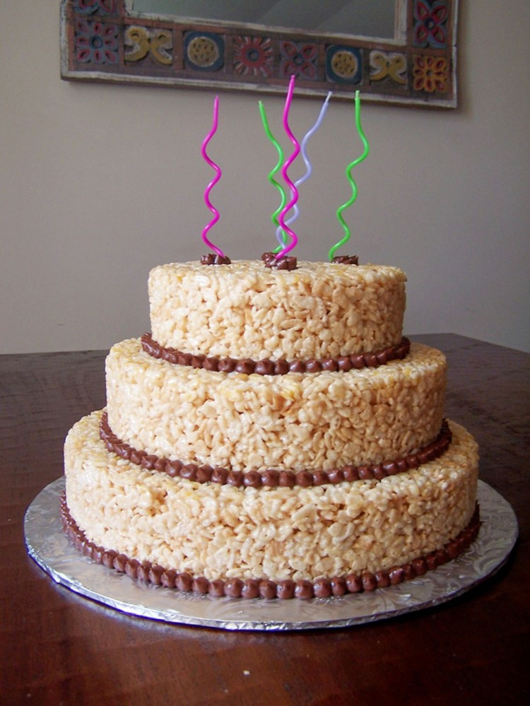 Rice Krispie Cake For Birthday Picture in Birthday Cake