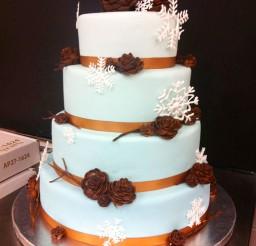 1024x1371px Round Winter Wonderland Wedding Cake Picture in Wedding Cake