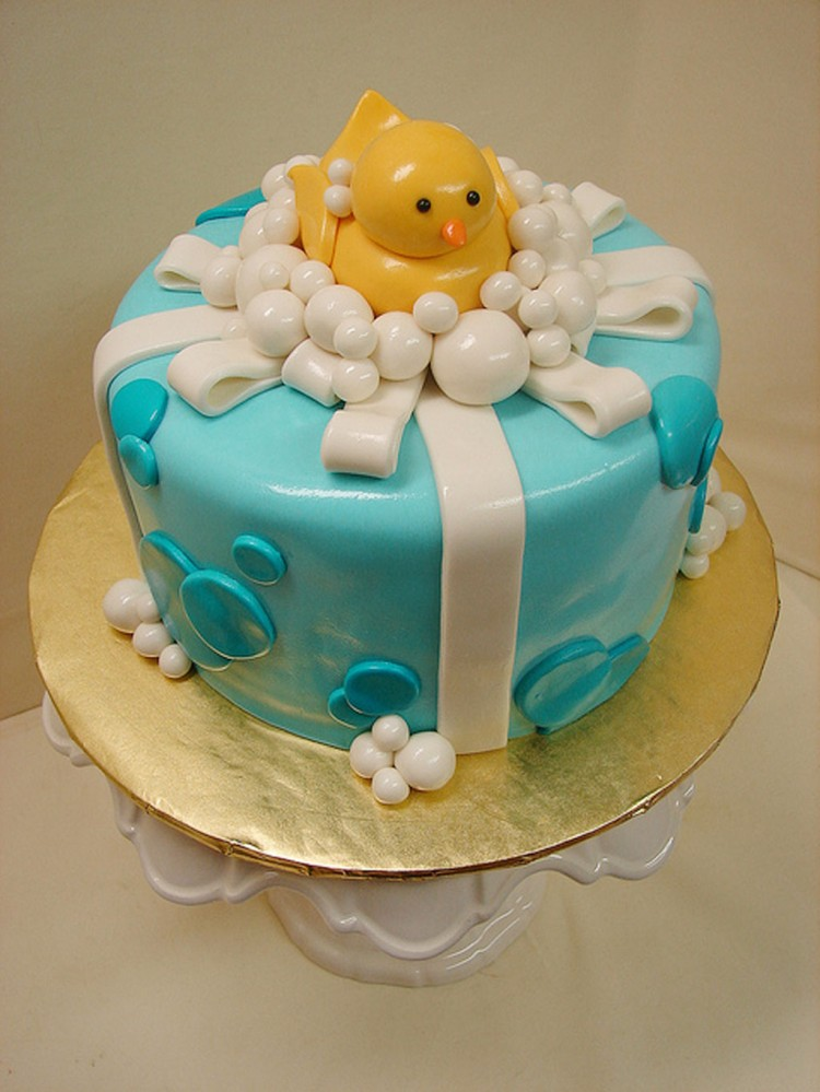 Rubber Ducky RIbbon Birthday Cake Picture in Birthday Cake