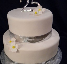1024x1365px Silver 25th Wedding Anniversary Cake Picture in Wedding Cake