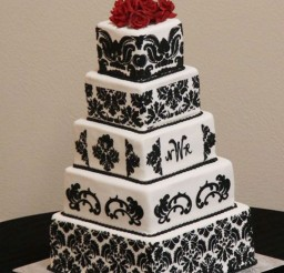 1024x1264px Square Damask Wedding Cakes Picture in Wedding Cake