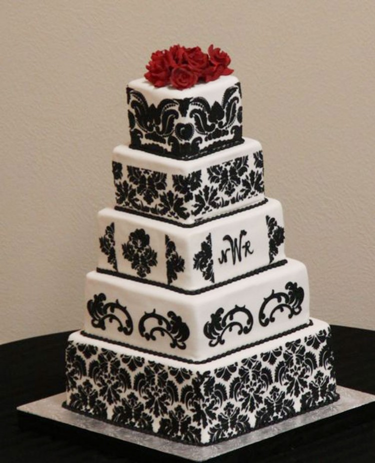 Square Damask Wedding Cakes Picture in Wedding Cake