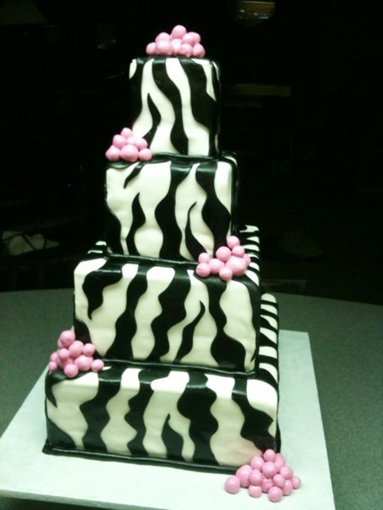 Square Zebra Wedding Cakes Picture in Wedding Cake