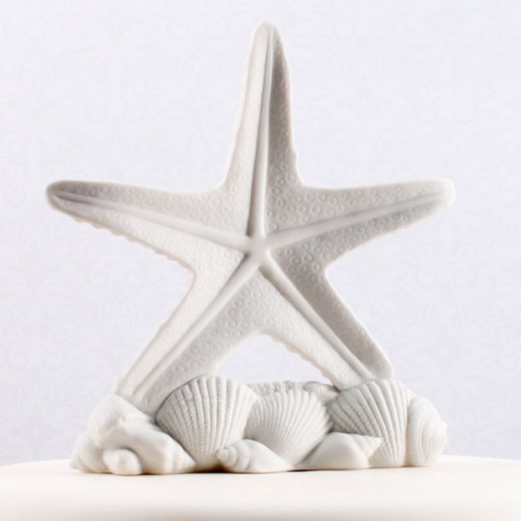 Starfish Shells Beach Wedding Cake Topper Picture in Wedding Cake