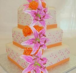 1024x1283px Stargazer Lily Wedding Cake With Orange Ribbon Picture in Wedding Cake