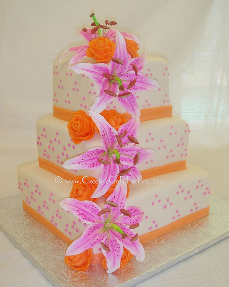 Stargazer Lily Wedding Cake With Orange Ribbon Picture in Wedding Cake