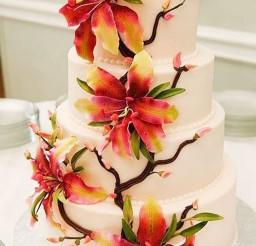 1024x1536px Stargazer Lily Wedding Cake Picture in Wedding Cake