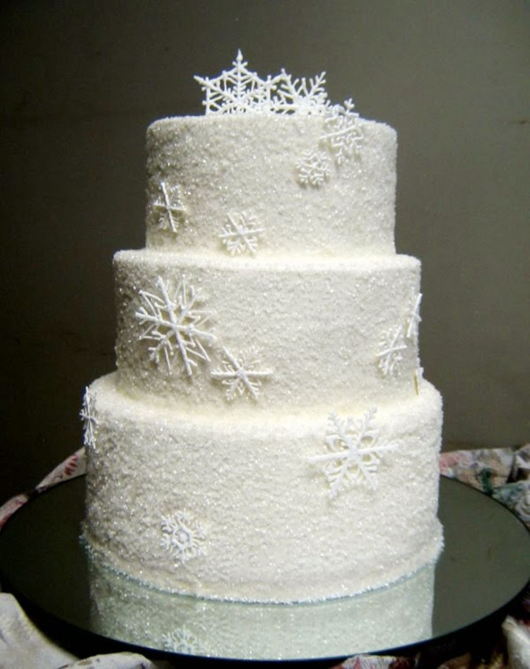 Sugar Snowflakes Wedding Cake Decorated Picture in Wedding Cake
