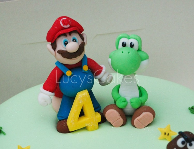 Super Mario And Yoshi Birthday Cake Toppers Picture in Birthday Cake