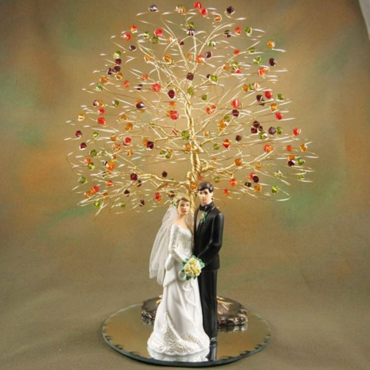 Swarovski Crystal Fall Tree Wedding Cake Topper Picture in Wedding Cake
