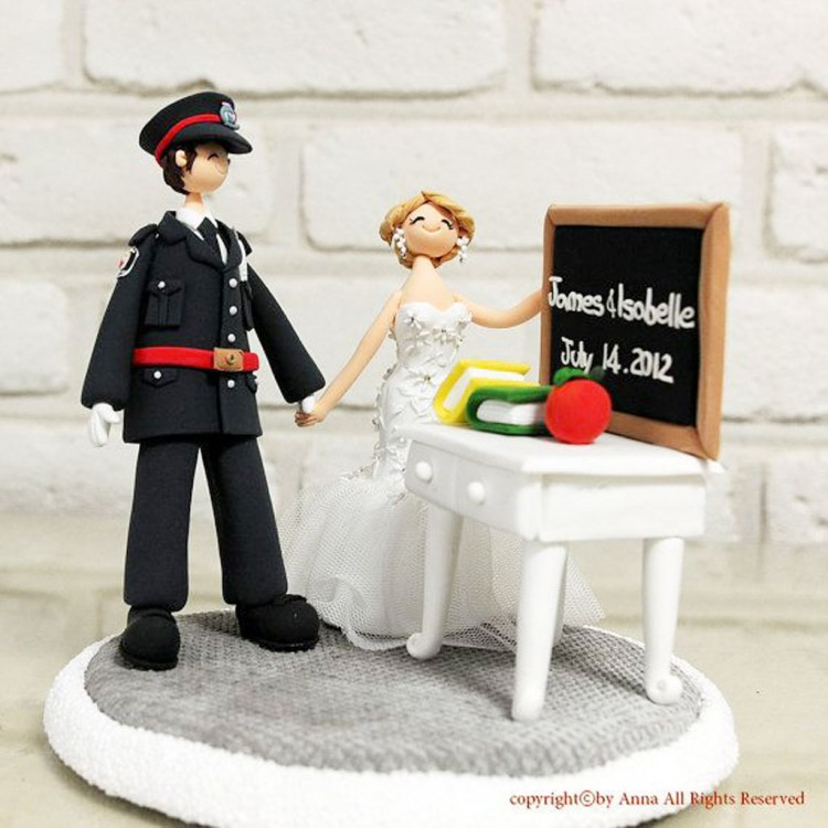 Teacher Policeman Wedding Cake Topper Picture in Wedding Cake