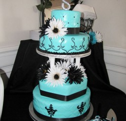 1024x1365px Tiffany Blue And Black Wedding Cake Picture in Wedding Cake