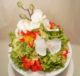 1024x1020px Tropical Wedding Cake Topper Green Hydrangea Picture in Wedding Cake
