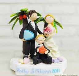 1024x1010px Tropical Beach Custom Wedding Cake Topper Picture in Wedding Cake