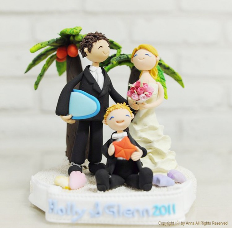 Tropical Beach Custom Wedding Cake Topper Picture in Wedding Cake