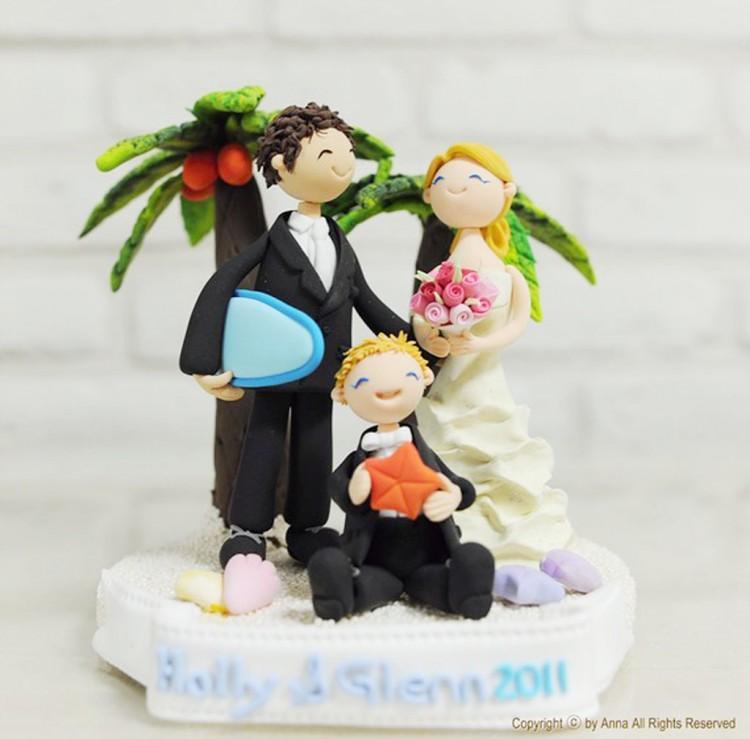Tropical Beach Custom Wedding Cake Topper Picture in Wedding Cake