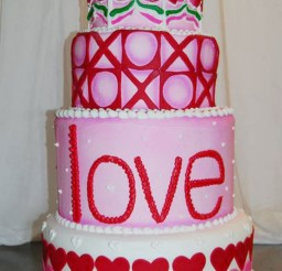 1024x1542px Valentines Fondant Shapes Tier Cake Picture in Valentine Cakes