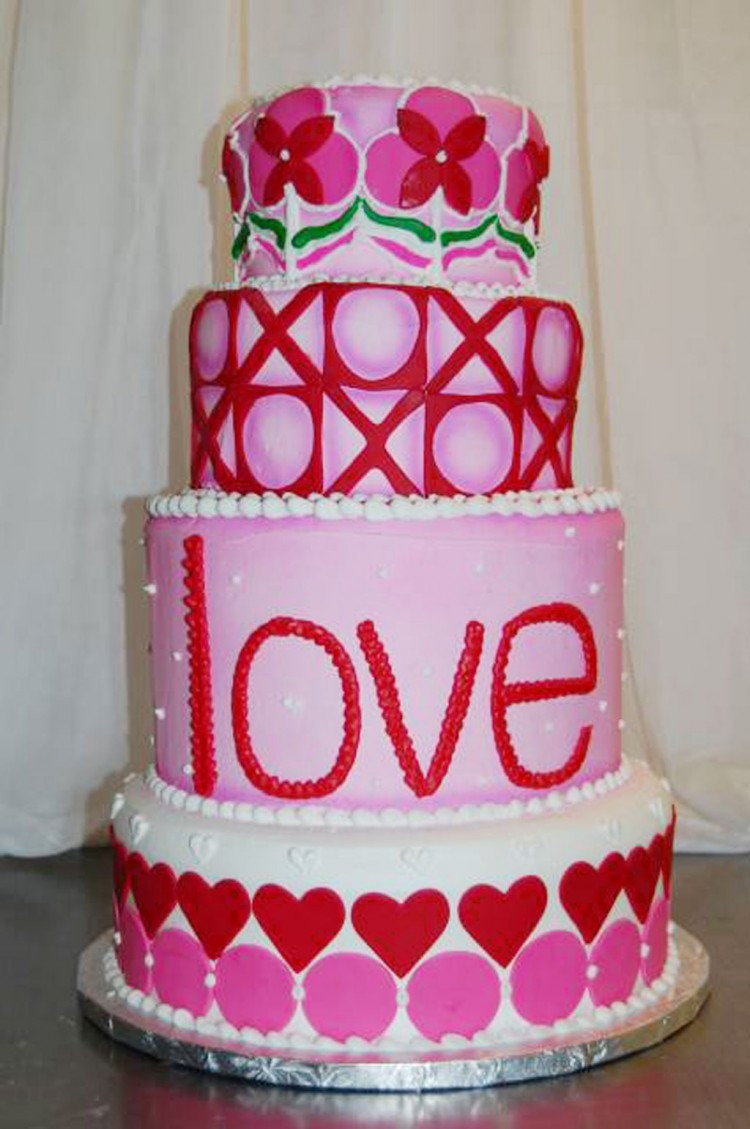 Valentines Fondant Shapes Tier Cake Picture in Valentine Cakes
