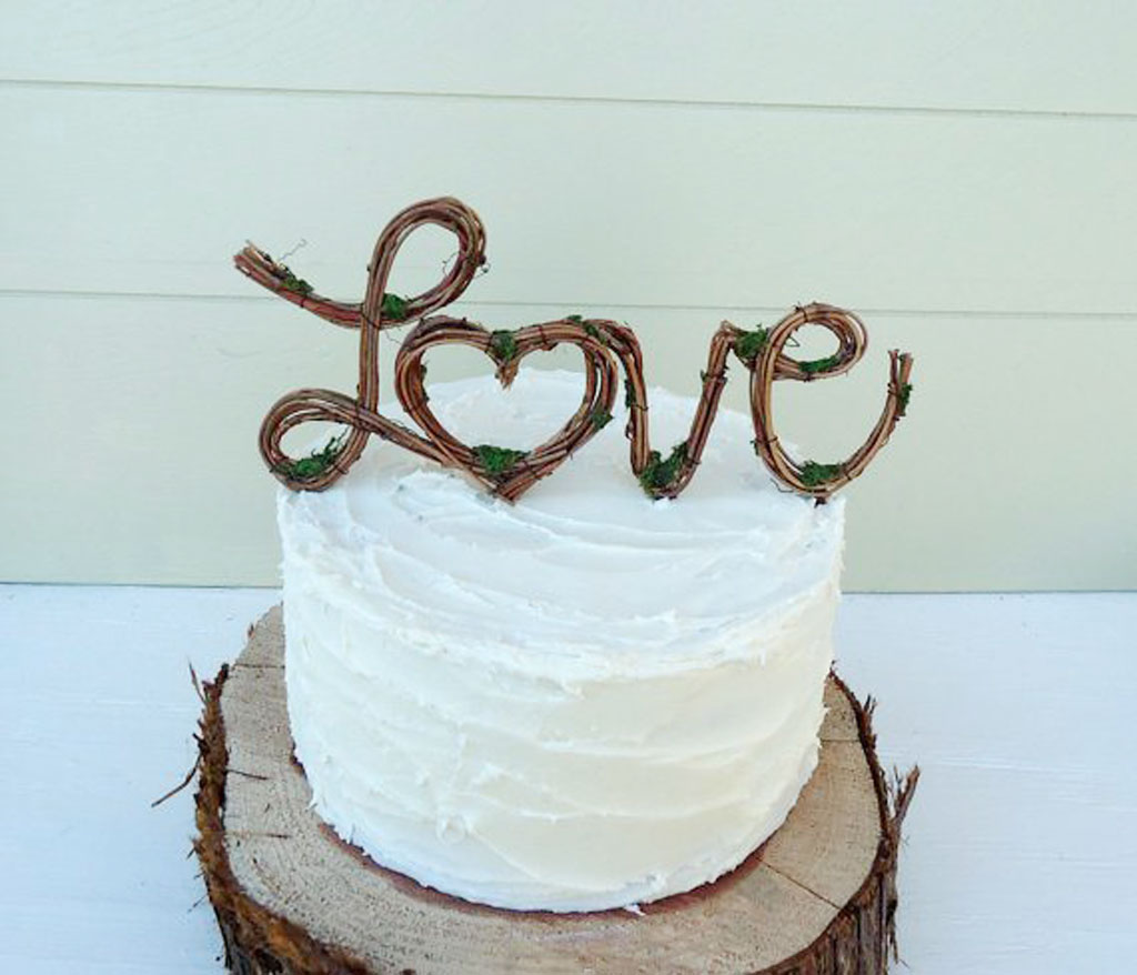 Vintage Rustic Wedding Cake Toppers Picture In