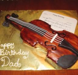 1024x768px Violin Birthday Cake Design Picture in Birthday Cake