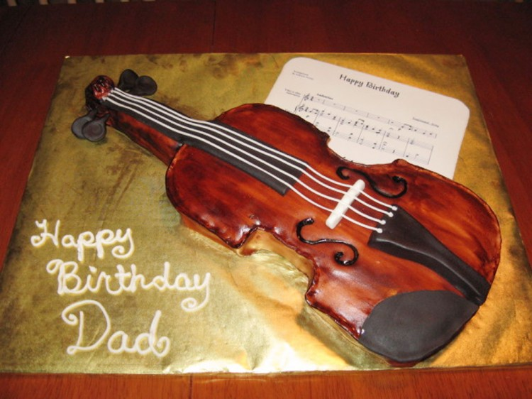 Violin Birthday Cake Design Picture in Birthday Cake