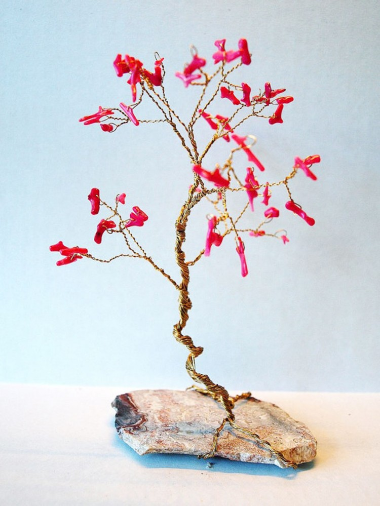 Wedding Cake Topper Red Coral Wire Gem Tree Picture in Wedding Cake